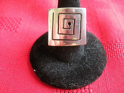 VINTAGE MEXICAN MODERNIST SILVER STERLING SOLID RING (Size 5.75)