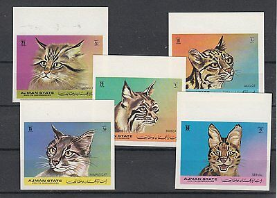 Ajman 1971, Wild and Domectic cats, 2 sets Perf+ Imperf/Imperforate.