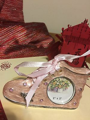 Baby Photo Frame Girl  Pink Cloisonne finish Pink Ribbon laces shaped as shoe