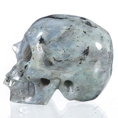 """2.91"""" Natural Labradorite Hand Carved Skull/Head,Realistic Carving#23G15"""