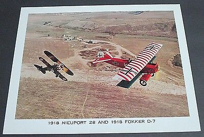 Wwi 1918 Nieuport 28 & 1918 Fokker D-7 Photograph Print French & German Fighters