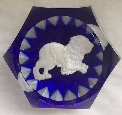 Baccarat Crystal Zodiac Leo Lion Blue Faceted Paperweight, Paper Weight, 2 1/2""