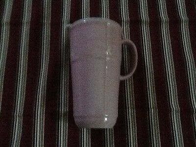 Longaberger Woven Traditions Pottery Travel Mug Cup Pink Horizon of Hope w/Lid
