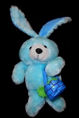 """8"""" Peek-A-Boo Toys Plush Stuffed Blue Bunny Rabbit with Easter or Spring Basket"""