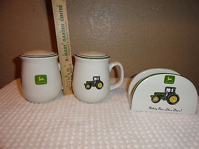 "Gibson John Deere 4.5"" SALT and PEPPER SHAKERS Large with Stoppers"