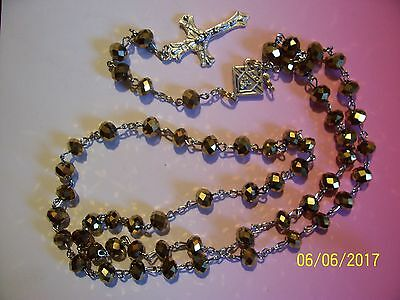 KNIGHTS OF COLUMBUS Rosary- GOLD Crystal 20 inches