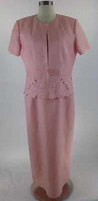 Coldwater Creek Dress Jacket Set 12 pink Mother of Bride evening party church