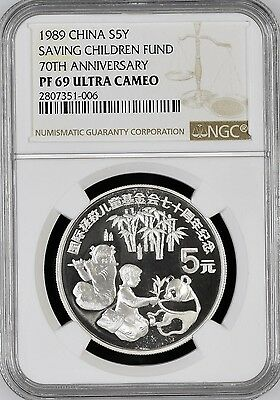 REALLY NICE! S5Y SILVER PANDA NGC PF69 China 1989 Saving Children Fund 70th Ann