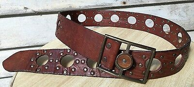 Vintage Harness House Brown Hand Waxed Steerhide Studded Leather Belt, Size 36