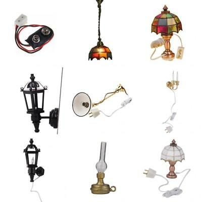 1/12 Scale Dolls House Accessories Miniature Wall Lamps Ceiling LED Light Decor