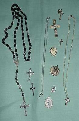RELIGIOUS JEWELRY LOT Rosary Beads Necklaces Pendants Sterling St Christophers