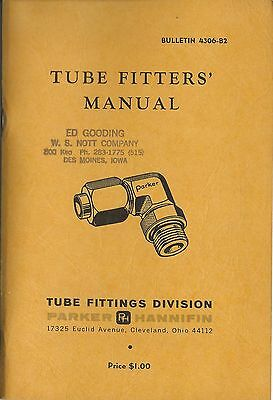 Parker Hannifin Tube Fitters Manual Bulletin 4306-B2 1962 Excellent Condition