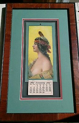 **BEAUTIFUL** Framed 1907 Indian Maiden Calendar Copyright Hayes Lithograph 1906