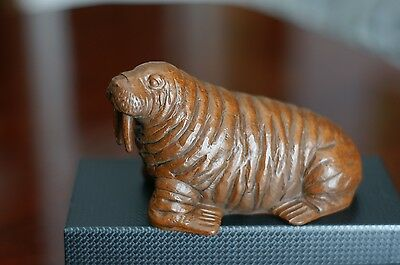Folk Art Hand Carved Wood Walrus