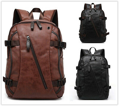 Men'S Vintage Pu Leather Backpack Rucksack Bag Laptop Casual Travel School Bags