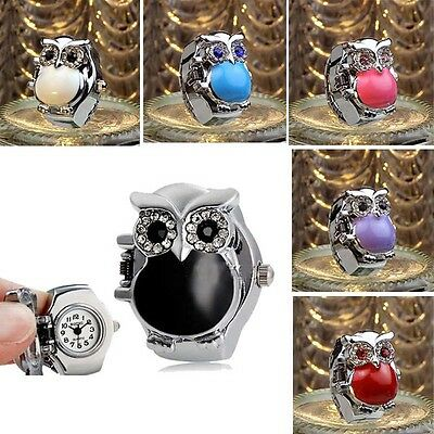 Style 3D Animal Charm Women Finger Ring Watch Adjustable Band Quartz Enamel