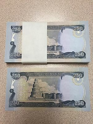 250 New Iraqi Dinar Crisp Uncirculated   Buy 4 @ 2.59 EACH AND GET ONE FREE