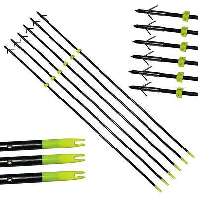 "6Pack Hunting Fishing Arrows Archery Bowfishing Slingbow 34"" Fiberglass Point"