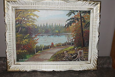 Oil Painting Toronto Artist H. Packwood Landscape with Frame