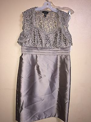 New R&M Richards Jacket Dress 14 NWT Mother of Bride Metallic Lace Grey