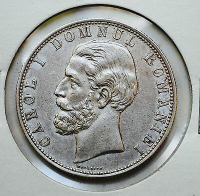 Romania Carol I 5 lei 1880 Silver Crown  BEAUTIFUL HIGH GRADE COIN !