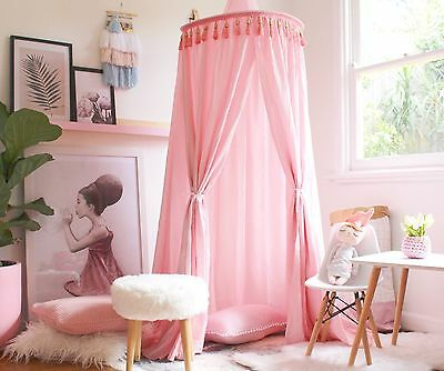 Pink Kid's Boho Bed Canopy - Play Tent for Reading Nook - Baby Mosquito Net