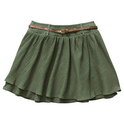 NWT Target Girls Olive Tiered Crinkle Skirt with Glitter Belt Size 10