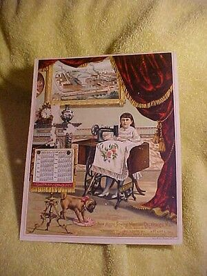 Antique1800's Calendar Advertising Trade Card New Home Sewing Machine Factory