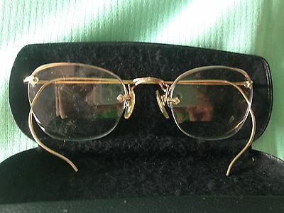VTG 1/10 12 KGF Wire Framed Eye Glasses with Case Adult Size rare collectible