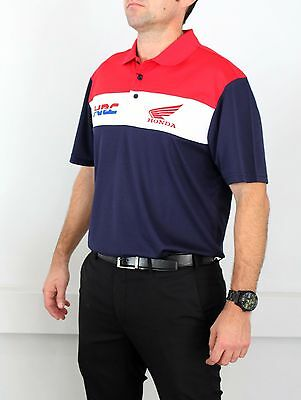 Genuine Honda Official Merchandise HRC Racing Team Navy Red White Polo Pit Shirt