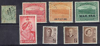 Dominica selection (8) used and mint from QV - QEII   Cat $13.05