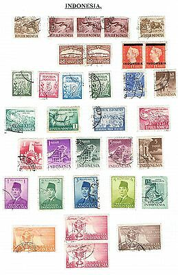 Indonesia.  Great selection of mainly used stamps on 3 pages.  97 stamps.