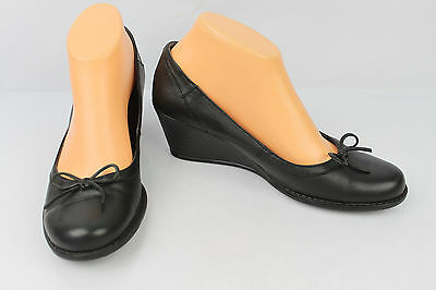 Court shoes Wedge Heels CABLE Black Leather T 39 VERY GOOD CONDITION