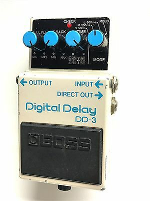 Boss DD-3, Digital Delay, Late 80's, Blue Label, Guitar Effect Pedal