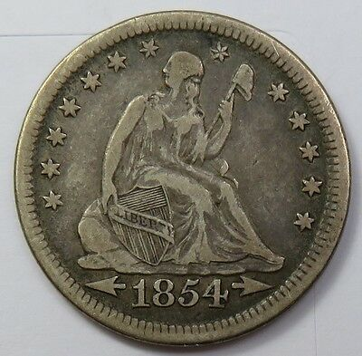 1854-P Seated Liberty Quarter Dollar Silver 25c US Coin Item #12865