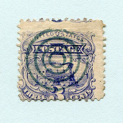USA 1869 #114 Blue Locomotive used with rare green cancel, cat. $520.00+
