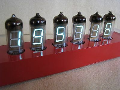"Monjibox Nixie ""Red Shadow"" VFD alarm Clock IV11 tubes aluminum case"