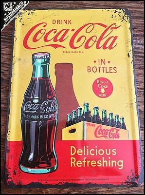 New Official Yellow COCA COLA Bottles Metal Postcard mini tin sign card coke