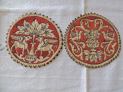 TWO VERY OLD HAND MADE DOILY Pēgasos, BIRDS. 1900-