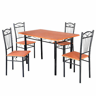 5pc Table Chairs Furniture Wood Metal Breakfast Modern Room