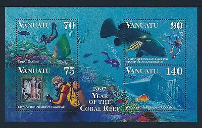 1997 Vanuatu Coral Reef Diving Minisheet Fine Mint Mnh/muh