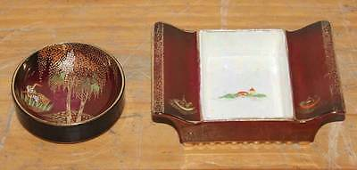 "2x Vintage CarltonWare ""Rouge Royale""Condiment Dishs,England,c1930 CHINESE STYLE"