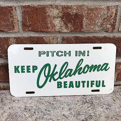 Vintage Oklahoma License Plate 'Pitch In! Keep Oklahoma Beautiful