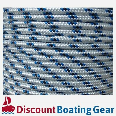 6mm Double Braid Polyester Yacht Rope 100m | Quality White W/ Blue Sailing Rope