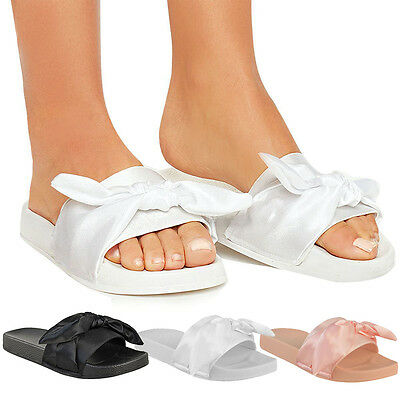Womens Ladies Bow Sliders Sandals Flat Comfy Slides Slippers Satin Summer Size