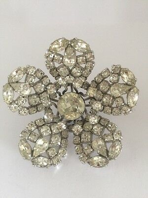 Rare Collectable Gustav Sherman Crystal Flower Brooch Pin Vintage Floral Canada
