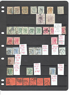 A Collection of 366 early HONG KONG stamps on 7 stock sheets,mostly unchecked. m
