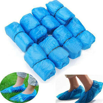 100Pc Plastic Disposable Shoe Covers Overshoes Waterproof Boot Cover  Protective