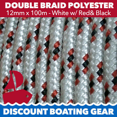 12mm x 100m Double Braid Polyester Yacht Rope | 12mm White & Red Sailing Rope