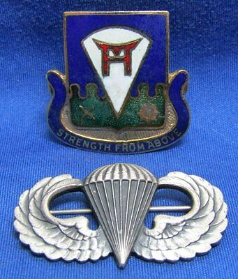 WWII Sterling Airborne Paratrooper Jump Wings Badge & 511th Infantry Reg. DI Pin